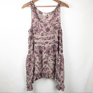 Free People Intimately Floral Tier Lace Trim Top